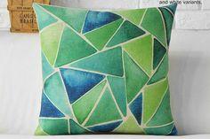 Summer Dream - Green Mosaic Throw Pillow Cover
