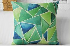 Summer Dream - Green Mosaic Throw Pillow Cover