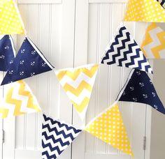 9 Feet Fabric Banner, 21 Flag Bunting, Navy Blue Anchor, Yellow Chevron, Polka Dot, Baby Boy Nursery Decor, Baby Shower. $32.00, via Etsy.