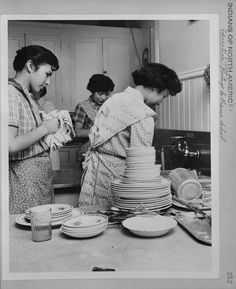 Residential Schools - A Photo History -Students share dish-washing chores at Portage La Prairie Residential School in Manitoba in 1950.