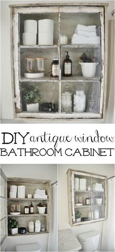 DIY Bathroom Cabinet, made from a vintage window. A great rustic/industrial furniture project. #VintageIndustrialFurniture