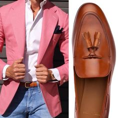 Dapper combo - pink pastel summer blazer with brown loafers and jeans