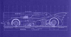 Blueprints for a 1989 model Batmobile.