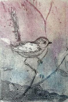 fairy wren collagraph #collgraphy #printmaking