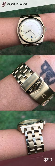 """Nixon """"Monopoly"""" 40mm all gold watch 3 hand quartz and date. Contemporary style. 20mm 5 link stainless stainless band with double locking clasp. 10 ATM water resistance. See Nixon.com for more details. All gold in color. Has a nice weight and feels substantial on the wrist. Hands glow in the dark Nixon Accessories Watches"""