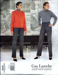 Vogue GUY LAROCHE 2205 Jacket And Pants Sewing Pattern Size 8, 10, 12 Paris Original UNCUT by vintagepatternstore on Etsy