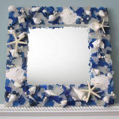 Beach Decor Sea Glass & Seashell Mirror by beachgrasscottage