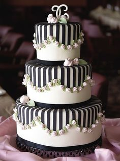Lovely birthday cake!  Persian, birthdays, birthday cake, wedding cake, desserts, striped cake, black and white cake, party bravo