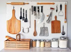 Organize your kitchen with a DIY pegboard. Build A Pegboard For A Clean Kitchen. Hang your utensils high by placing a pegboard on the wall, then attaching the different hooks. 30 Great DIY Organizing Ideas and Storage Hacks for Your Home. Kitchen Drawers, Kitchen Pantry, Kitchen Utensils, Kitchen Storage, Kitchen Pegboard, Open Kitchen, Kitchen Caddy, Kitchen Ideas, Furniture Redo