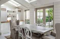 Modern Country Style: Swedish/French Style Victorian House Tour Click through for details. Modern Country Style, Rustic Modern, Modern Table, Look Dark, Interior Design Inspiration, Design Interior, Victorian Homes, Table And Chairs, Room Chairs