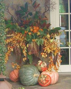 Since it's the fall season, here are some brilliant Fall Porch decor ideas. These Rustic Fall Front Porch decor ideas will bring in the colorful autumn vibe Fall Containers, Succulent Containers, Container Flowers, Container Plants, Fall Planters, Garden Planters, Fall Arrangements, Autumn Decorating, Porch Decorating