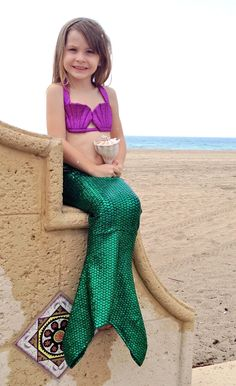 Ariel Green Tail and Purple Seashell Top by Magical Mermaid Swimwear