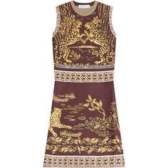 VALENTINO Sleeveless Jaguar-Print Sheath Dress, Black/Gold (10.640 DKK) ❤ liked on Polyvore featuring dresses, short dress, gold sheath dress, a line dress, polka dot cocktail dress, gold dress and print dress
