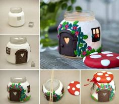 Crafts: #Crafts ~ Mushroom House Candle Holder (tutorial).