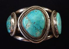 Huge 123g Vintage Old Pawn Navajo Sterling Silver Cuff w 3 Large & Beautiful Blue Gem Turquoise Stones! Great Big Ol' Piece!
