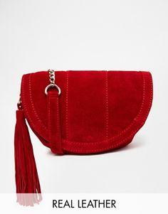 ASOS Suede Saddle Bag With Tassel