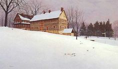 'Snowbirds at Salem' Limited Edition Print, The location of this scene is the Moravian village of Old Salem in Winston-Salem, North Carolina. The log building is the Single Brother's Workshop and the snowbirds are the grey juncos that are prevalent in the area during the winter.  My mother was a Moravian and I remember the village from my youth. #winstonsalem #snow #winter