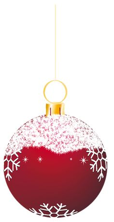 Transparent Red Snowy Christmas Ball Ornament Clipart