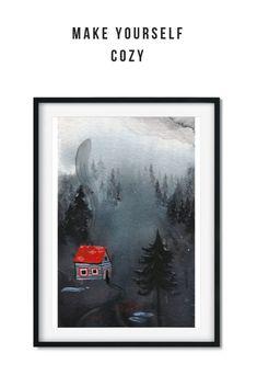 Copy of creatures(2) Watercolor Illustration, Giclee Print, Creatures, Batman, Cozy, Paintings, Make It Yourself, Art Prints, Artwork