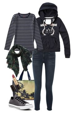 """""""Casual Errand Outfit"""" by underwater-city ❤ liked on Polyvore featuring Forever 21, Current/Elliott, Abercrombie & Fitch, Revlon and Converse"""