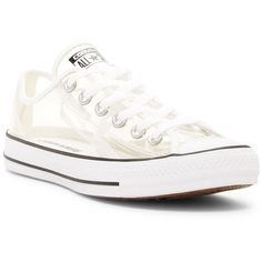 Converse Chuck Taylor(R) All Star(R) Clear Ox Low Top Sneaker (Unisex) ($80) ❤ liked on Polyvore featuring shoes, sneakers, converse sneakers, lacing sneakers, polka dot sneakers, striped sneakers and lace up sneakers