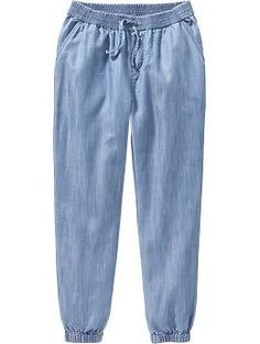 Girls Chambray Joggers Fashion Pants, Fashion Dresses, Stylish Outfits, Cool Outfits, Girls Joggers, Stylish Dress Designs, Embellished Jeans, Pants For Women, Clothes For Women