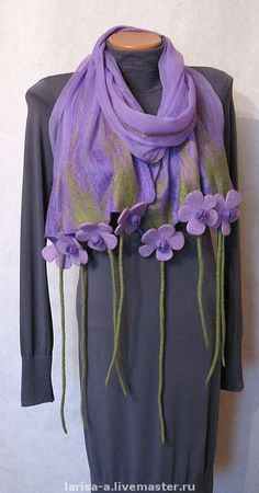 Scarf Jewelry, Fabric Jewelry, Hand Accessories, Fabric Manipulation, Shawls And Wraps, Scarf Styles, Beaded Embroidery, Womens Scarves, Wool Felt