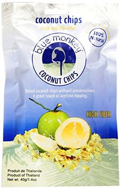 Blue Monkey Gluten Free Vegan Toasted Coconut Chips (Pack of 6), 1.4 Oz. Ea. Blue Monkey