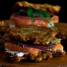 Forget bagels — smoked salmon is tastier between crispy potato pancakes.