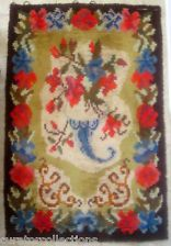 Very Old Shag Rug; Beautiful Highly-Figured Floral Vase Motif! Finnish Rya/Ryijy