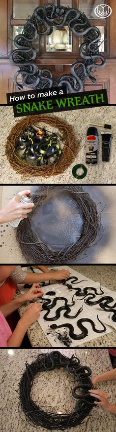Excited to decorate for your 1st Halloween? We've gathered 5 great ideas for simple DIY decorations, including this snake wreath! You'll need: an 18-inch grapevine wreath, black spray paint, vinyl snakes, black acrylic paint, floral wire and a paint brush. 1. Spray paint the wreath outside and let dry. Put down some newspaper or cardboard first. 2. Paint the snakes using black acrylic paint and let dry. 3. Attach the snakes to the wreath using floral wire.
