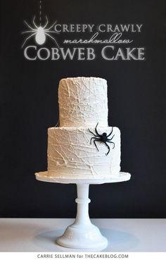 Marshmallow Cobweb Cake For Halloween