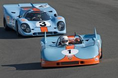 1971 Porsche 908-3 and 1969 Porsche 917K, vintage Can-Am racing