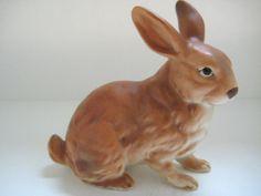 Vintage Ceramic Lefton Brown Bunny #RabbitFigurine Sitting H6664