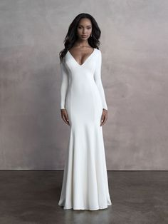 Allure Bridal Dress 9801 features an open back, balances the full-coverage minimalism of this elegant crepe, long sleeve sheath. Atlas Bridal Shop is a bridal & wedding dress shop in Toledo, Ohio. Find wedding dresses, bridal gowns, veils & hair accessories, plus size, lace, a line, off the shoulder, sleeves, beach, destination, formal, wedding dress styles. Wedding dress designers include Morilee, Allure Bridal, Allure Couture, Maggie Sottero, Rebecca Ingram, Sottero Midgely and more. Crepe Wedding Dress, Top Wedding Dresses, Wedding Dress Shopping, Designer Wedding Dresses, Bridal Dresses, Wedding Gowns, Bridesmaid Dresses, Sheath Dresses, Allure Couture