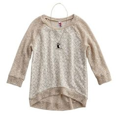 Knitworks Lace-Front Raglan Sweater - Girls 7-16