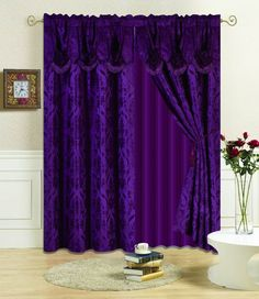 All American Collection New 4 Piece Drape Set with Attached Valance and Sheer with 2 Tie Backs Included Length, Purple) Purple Bedroom Decor, Decor, Purple Home, Bedroom Decor, Gothic Bedroom, Bedroom, Home Decor, Girl Bedroom Decor, Purple Curtains