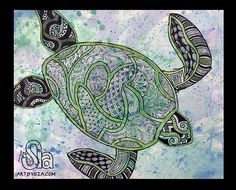 Art by Sia | Watercolor Turtle |  2012 | Watercolor and sharpie