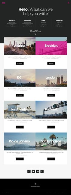 Huge creative, marketing and branding agency.  Nice help page with great office locations content layout. http://www.hugeinc.com/