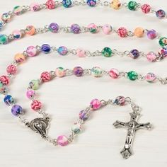 Colorful Clay Bead Rosary Present a young lady in your life with this bouquet of colorful blooms, which she can then present to Our Lady when she p. Diamond Cross Necklaces, Diamond Solitaire Necklace, Diamond Pendant Necklace, Horseshoe Necklace, Hamsa Necklace, Good Luck Necklace, Communion Gifts, Communion Prayer, Lucky Horseshoe