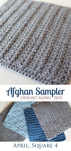 Vertical Ribs: Square 4 (April) of the 2015 Afghan Sampler -- Crochet along and have a finished blanket at the end of the year!   The Inspired Wren