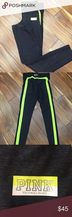 PINK ULTIMATE YOGA PANT Black/dark grey/ neon yellow in EUC. only worn a couple times: Layed flat to dry PINK Victoria's Secret Pants Track Pants & Joggers