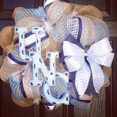 Tarheel burlap wreath // Baby boy // It's a boy // light blue // navy // white // chevrons // North Carolina on Etsy, $95.00