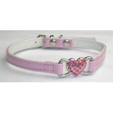 Posh Diamante Heart Dog Collar - Pink