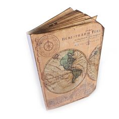 Travel Journal, Old World Map Scrapbook, Wanderlust, Vacation Log,... ($35) ❤ liked on Polyvore featuring home, home decor and stationery