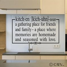 """Kitchen a gathering place for friends and family 12.5"""" x 21"""" vinyl lettering wall sayings home décor art sticker decal quote word"""