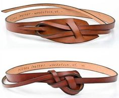 Love these knotted leather belts. Cute around a sweater, t-shirt, or blouse - Love these knotted leather belts. Cute around a sweater, t-shirt, or blouse Estás en el lugar corre - Leather Belts, Leather Jewelry, Leather Craft, Leather Totes, Handmade Leather, Leather Purses, Tooled Leather, Women's Jewelry, Leather Accessories