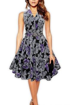 Rockabilly Floral Vintage Collared Dress. This beautiful Rockabilly Pinup style dress is collared, buttoned at the front and has a floral vintage pattern. UK 8-26