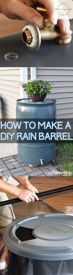 Rain barrels serve so many purposes for your yard! They're environmentally friendly, they save you money, and they help keep a fresh storage of water for you to use in your garden, and so much more. So, instead of going out and buying one, here's how you can make your own... #diy #ideas #rainbarrel