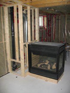 Beautiful 3 SidedPeninsula Electric Fireplace with Coffee Glaze